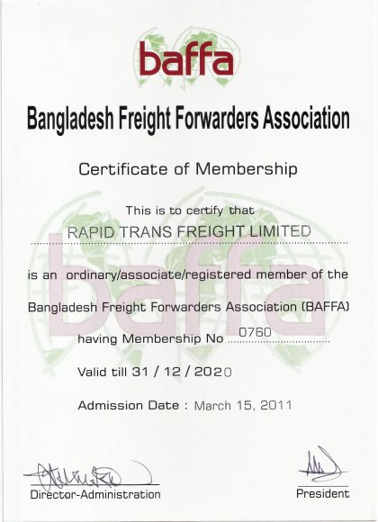 Rapid Trans Freight Certificate